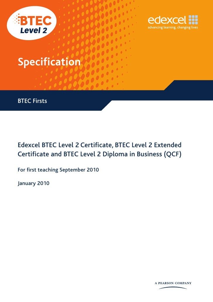 BTEC Level 2 Specification - New for September 2010