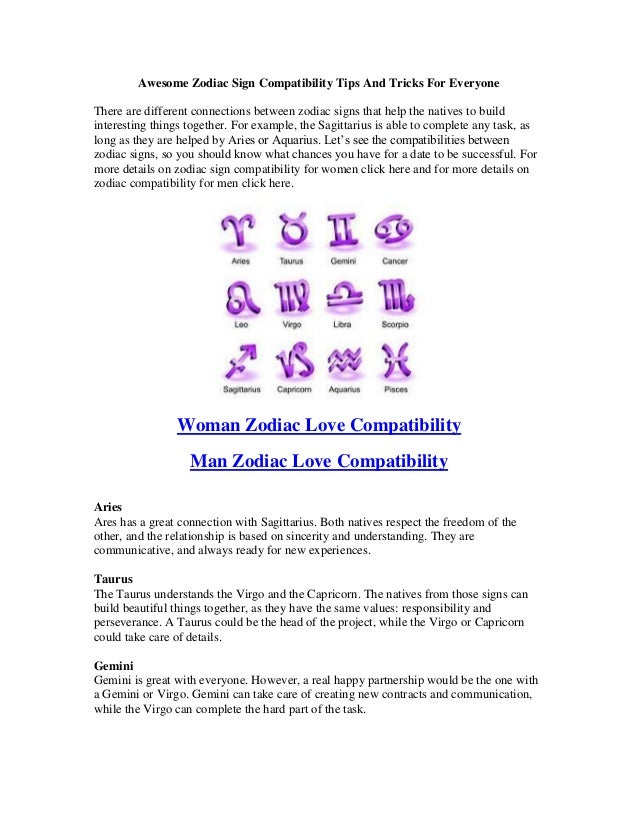 Awesome Zodiac Sign Compatibility Tips And Tricks For EveryoneThere are different connections between zodiac signs that he...