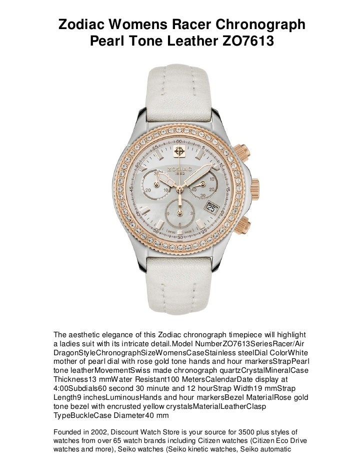 Zodiac womens racer chronograph pearl tone leather zo7613   free shipping, lowest price guarantee
