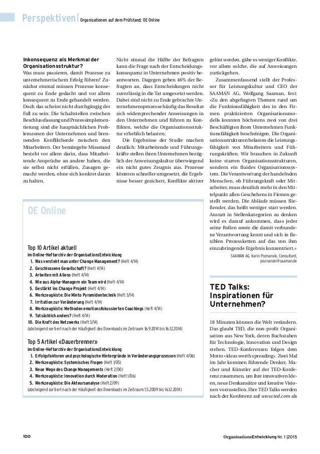 100 Nr. 1 |2015 Perspektiven|Organisationen auf dem Prüfstand; OE Online Inkonsequenz als Merkmal der Organisationsstruktu...