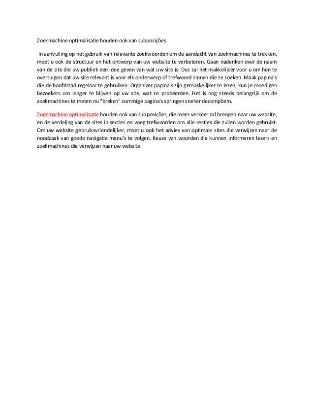 Zoekmachine optimalisatie houden ook van subposições