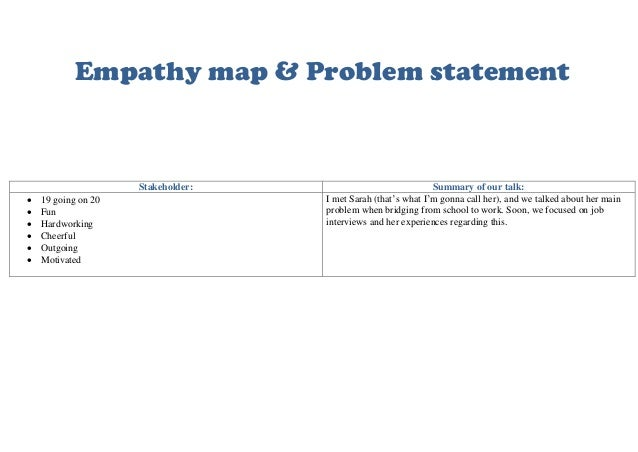 Empathy map & Problem statement Stakeholder: Summary of our talk:  19 going on 20  Fun  Hardworking  Cheerful  Outgoi...