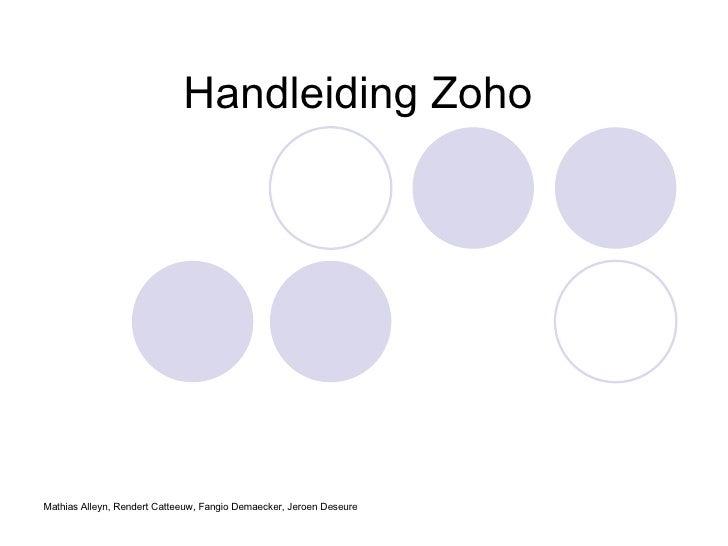 Handleiding Zoho Mathias Alleyn, Rendert Catteeuw, Fangio Demaecker, Jeroen Deseure