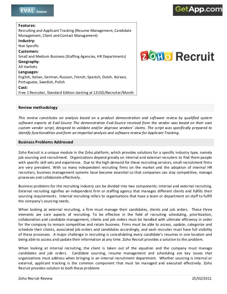 Zoho Recruit Analyst Review