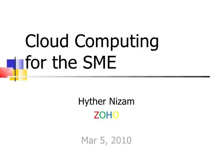Cloud Computing for the SME