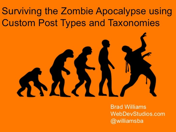 Surviving the Zombie Apocalypse using Custom Post Types and Taxonomies Brad Williams WebDevStudios.com @williamsba