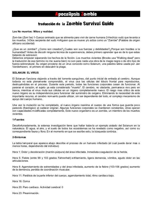 Apocalipsis Zombie                       traducción de la          Zombie Survival GuideLos No muertos: Mitos y realidad.Z...