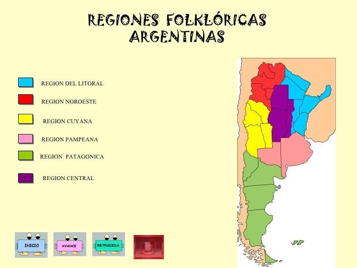 REGIONES  FOLKLÓRICAS ARGENTINAS REGION NOROESTE REGION DEL LITORAL REGION CUYANA REGION PAMPEANA REGION  PATAGONICA  REGI...