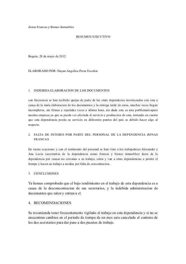 Zonas Francas y Bienes Inmuebles                                   RESUMEN EJECUTIVOBogota, 28 de mayo de 2012ELABORADO PO...
