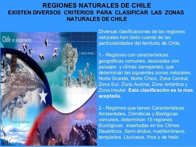 REGIONES NATURALES DE CHILEEXISTEN DIVERSOS CRITERIOS PARA CLASIFICAR LAS ZONAS                  NATURALES DE CHILE       ...