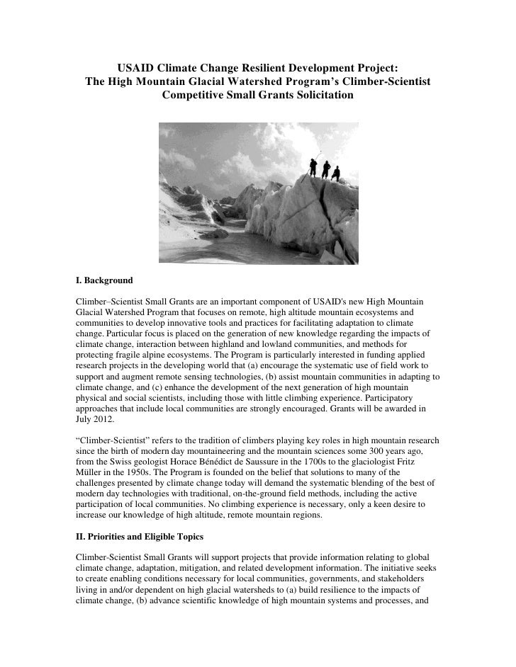 USAID Climate Change Resilient Development Project:  The High Mountain Glacial Watershed Program's Climber-Scientist      ...