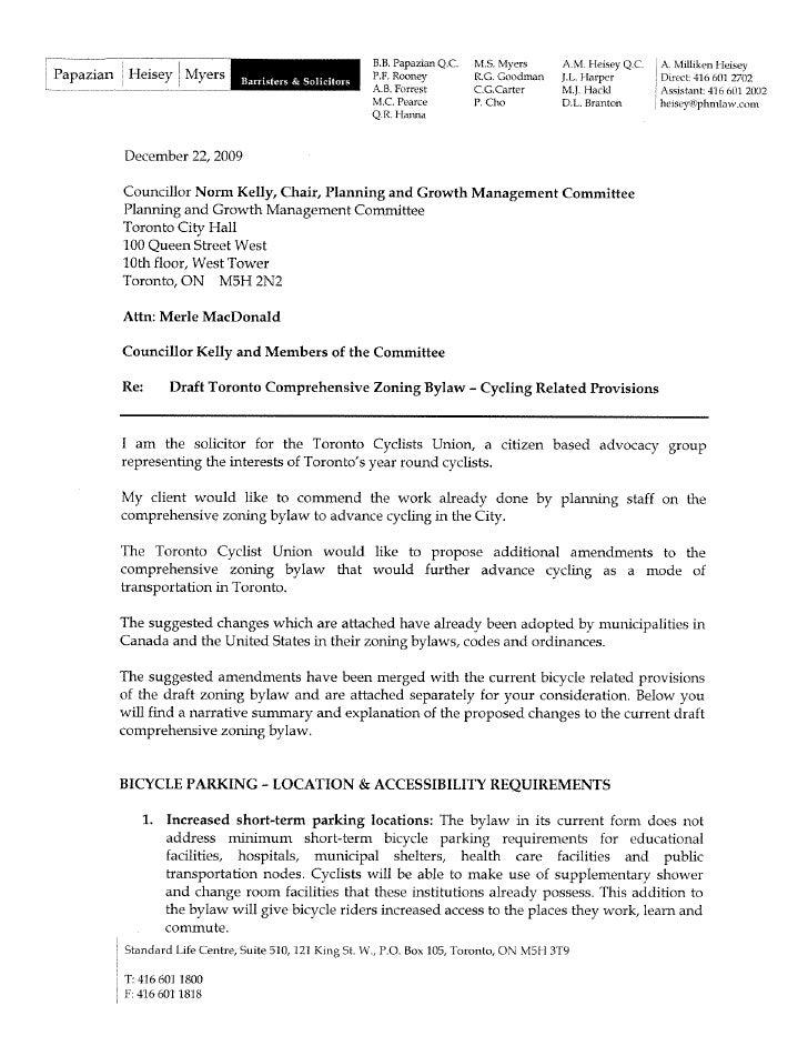 Toronto Zoning Bylaw - Toronto Cyclists Union Amendment Submission