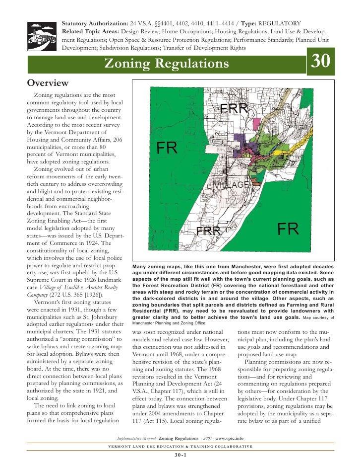 Statutory Authorization: 24 V.S.A. §§4401, 4402, 4410, 4411–4414 / Type: REGULATORY              Related Topic Areas: Desi...