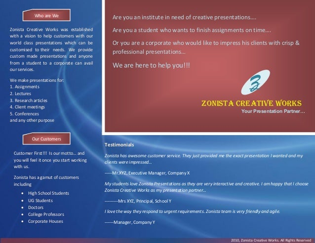 Z Zonista Creative Works Your Presentation Partner… Are you an institute in need of creative presentations…. Are you a stu...