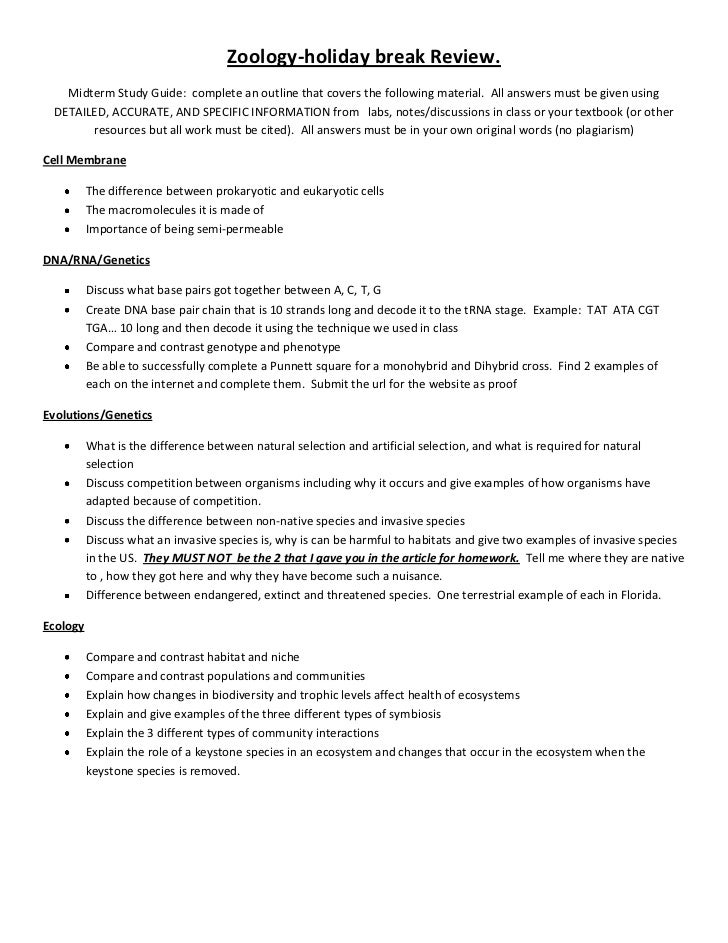 Zoology-holiday break Review.   Midterm Study Guide: complete an outline that covers the following material. All answers m...