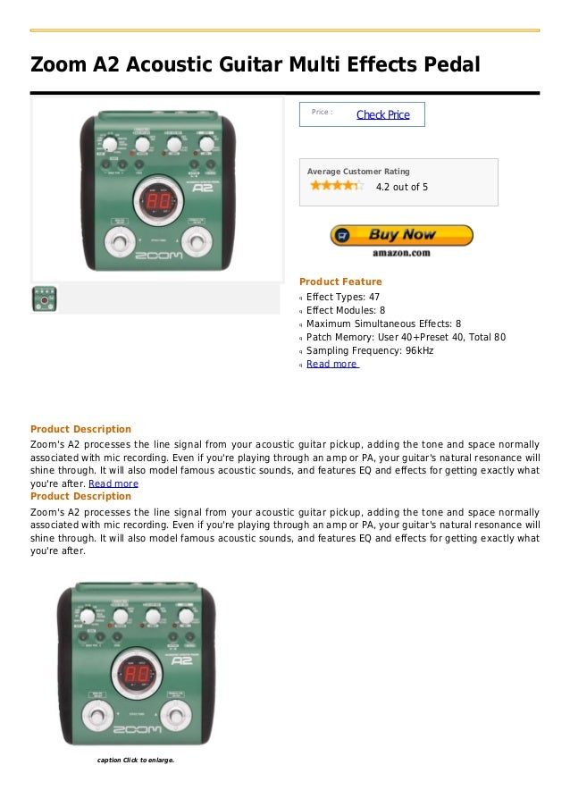 Zoom A2 Acoustic Guitar Multi Effects Pedal                                                                Price :        ...