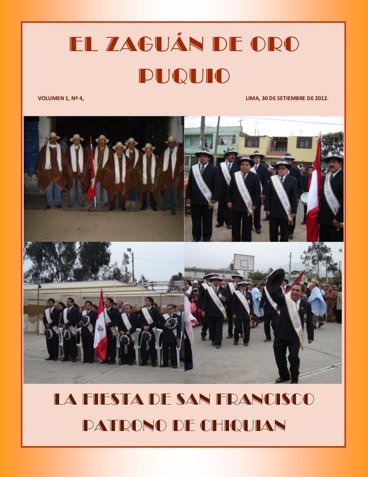 EL ZAGUÁN DE ORO               PUQUIOVOLUMEN 1, Nº 4,              LIMA, 30 DE SETIEMBRE DE 2012.     LA FIESTA DE SAN FRA...