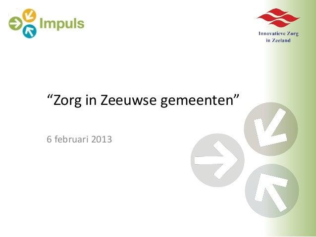 """Zorg in Zeeuwse gemeenten""6 februari 2013"