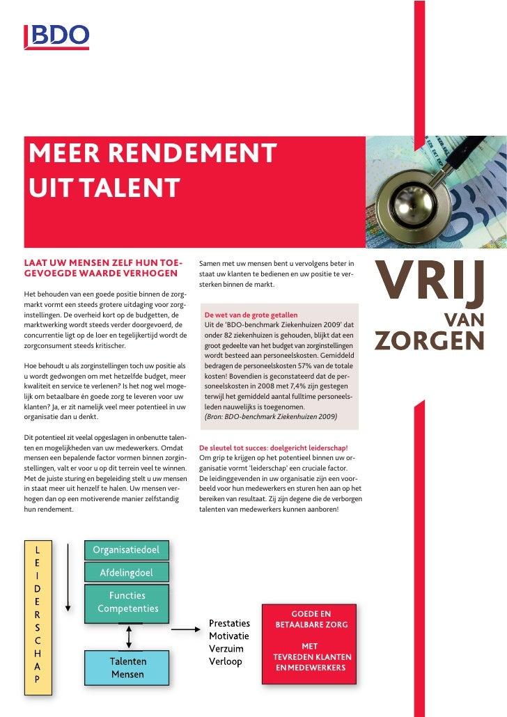 Meer rendement uit talent in de zorg