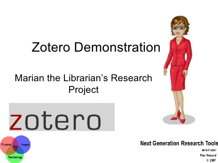 Zotero Demonstration  Marian the Librarian's Research Project
