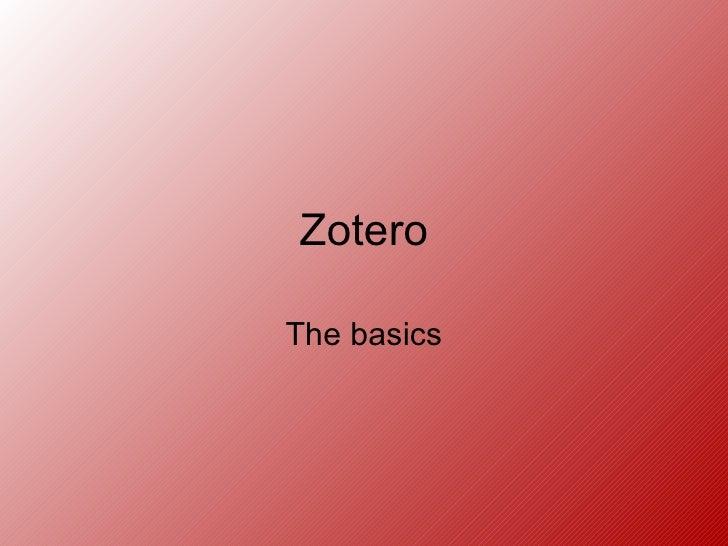 Zotero Basics