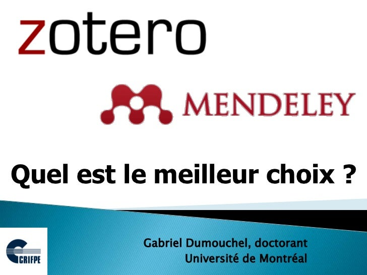mendeley zotero quel est le meilleur choix. Black Bedroom Furniture Sets. Home Design Ideas