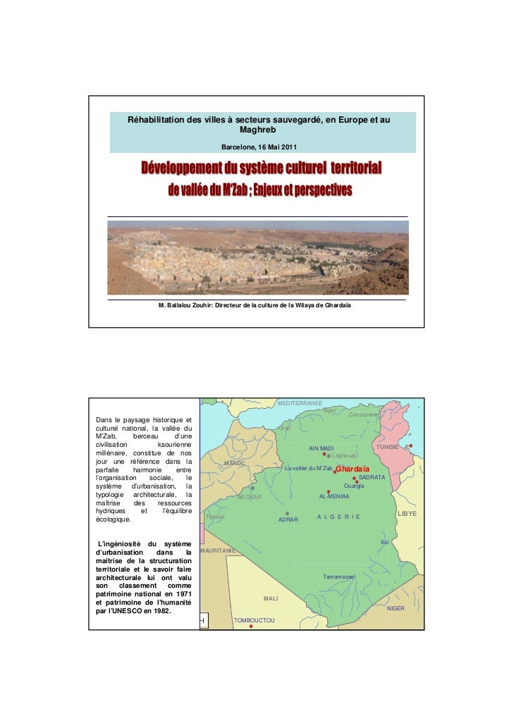 Zouhir ballalou - Développement du système cultural territorial de vallée de Mzab: Enjeux et perspectives