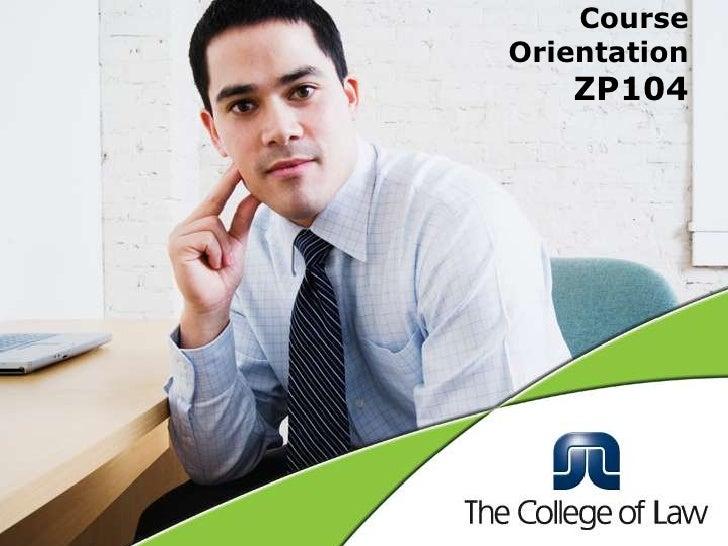 Course OrientationZP104<br />