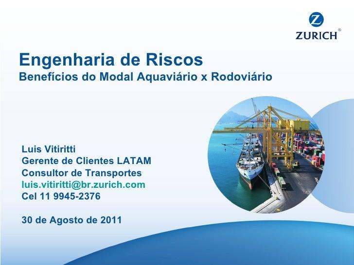 Engenharia de Riscos Benefícios do Modal Aquaviário x Rodoviário Luis Vitiritti Gerente de Clientes LATAM Consultor de Tra...