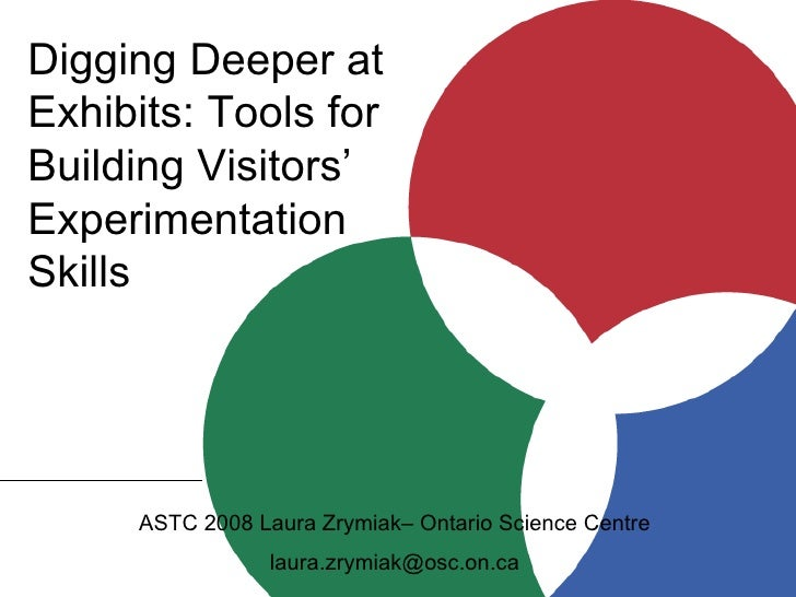 Digging Deeper at Exhibits: Tools for Building Visitors' Experimentation Skills ASTC 2008 Laura Zrymiak– Ontario Science C...
