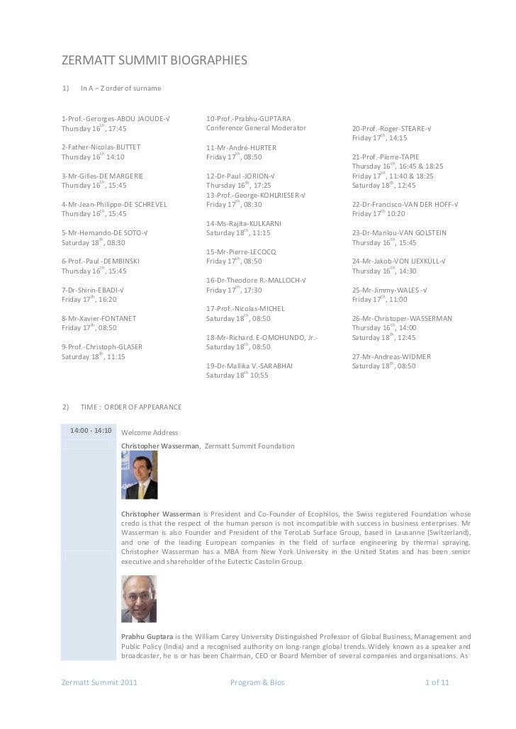 Zermatt Summit 2011 - Speakers & Panelists Resumés