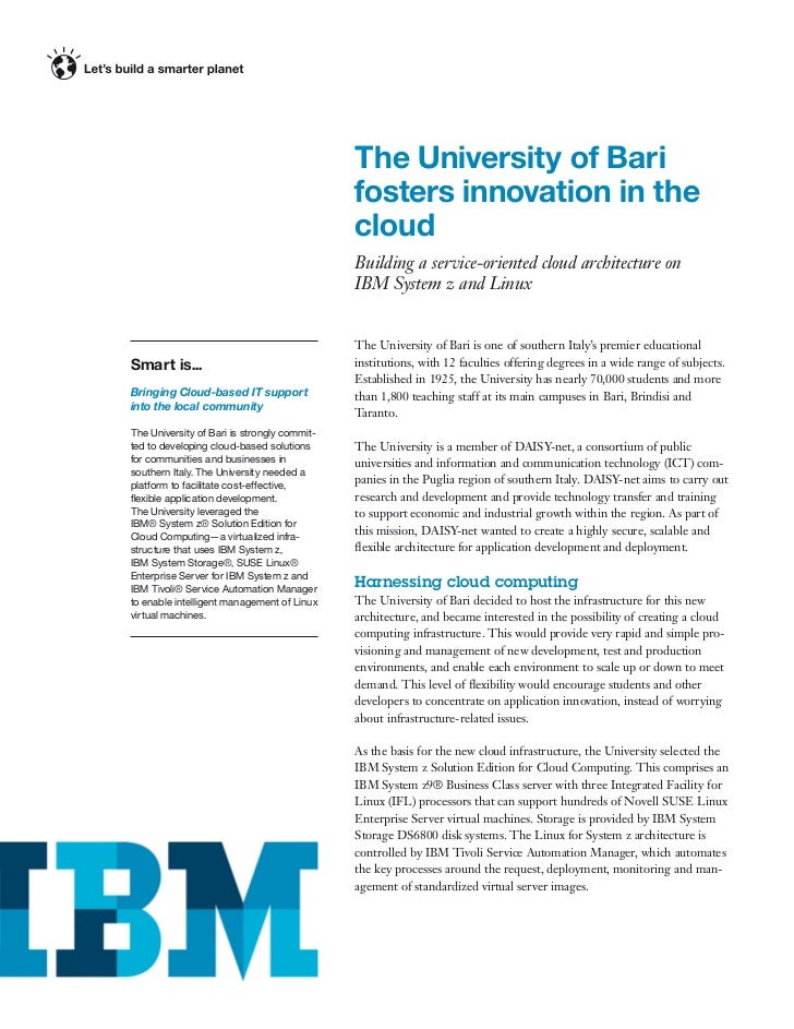 The University of Bari fosters innovation in the cloud