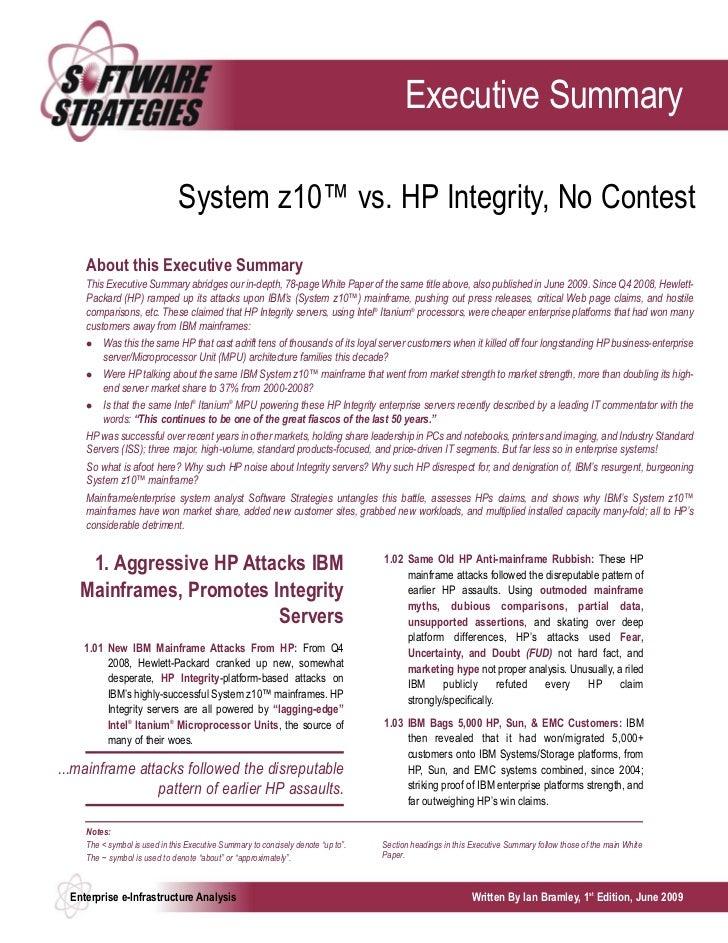 System z10™ vs. HP Integrity, No Contest