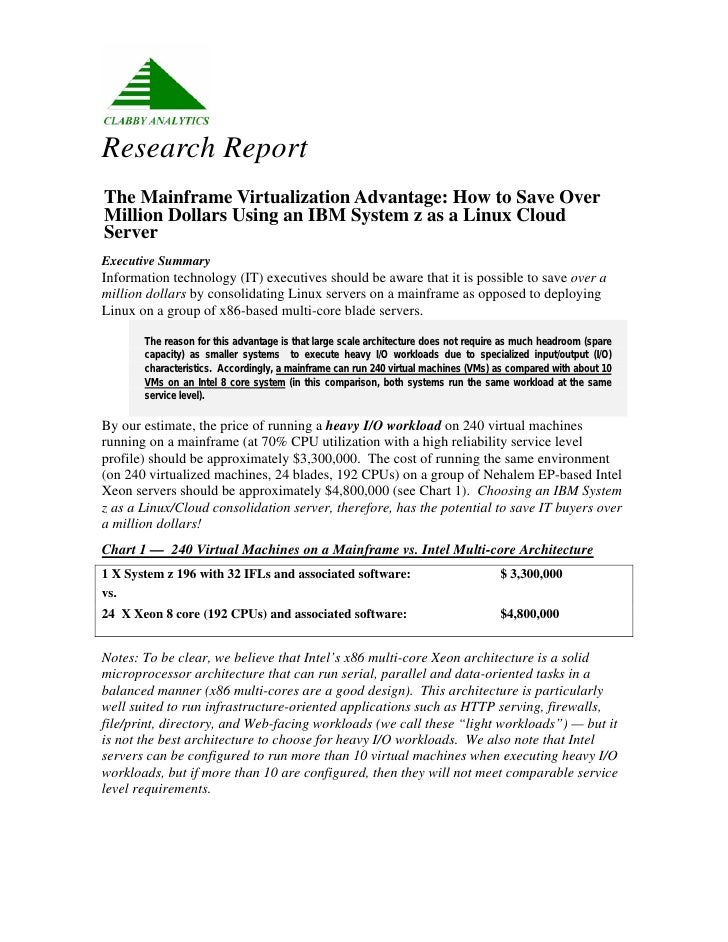 Clabby Analytics Research Report: The Mainframe Virtualization Advantage
