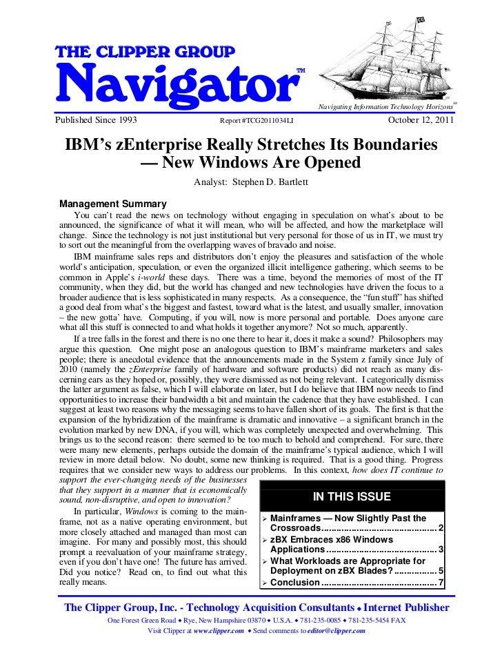 IBM's zEnterprise Really Stretches Its Boundaries - New Windows Are OpenedTHE CLIPPER GROUPNavigator                      ...