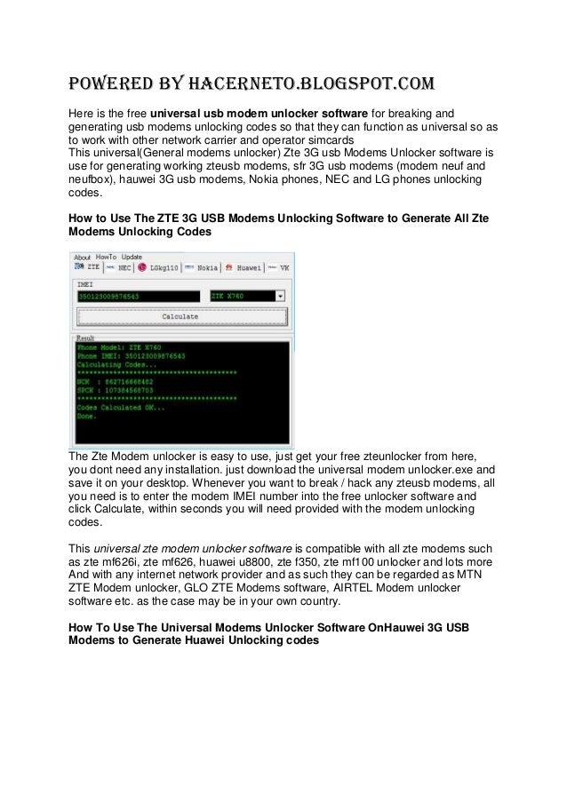 Zte 3 g usb modems unlocker software – universal unlocking codes generator software free download 2013