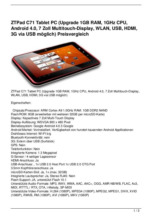 ZTPad C71 Tablet PC (Upgrade 1GB RAM, 1GHz CPU,Android 4.0, 7 Zoll Multitouch-Display, WLAN, USB, HDMI,3G via USB möglich)...