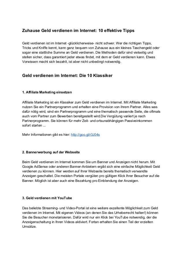 ZuhauseGeldverdienenimInternet:10effektiveTipps  GeldverdienenistimInternetglücklicherweisenichtschwer....