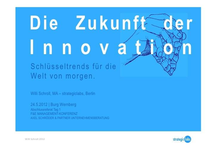 Die Zukunft der      I n n o v a t i o n       Schlüsseltrends für die       Welt von morgen.       Willi Schroll, MA – st...