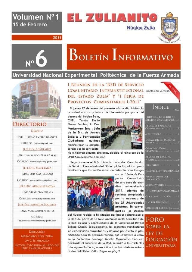 Volumen Nº115 de Febrero                                 2011       Nº       6                       BOLETÍN INFORMATIVOUn...