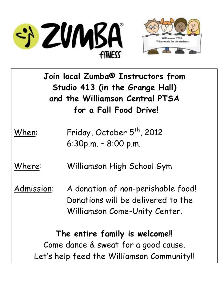 Join local Zumba® Instructors from           Studio 413 (in the Grange Hall)          and the Williamson Central PTSA     ...
