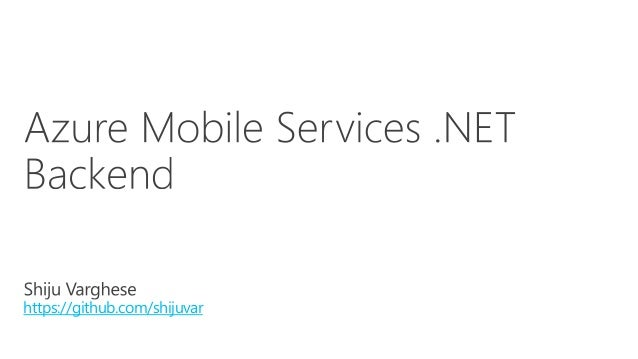 Azure Mobile Services .NET Backend