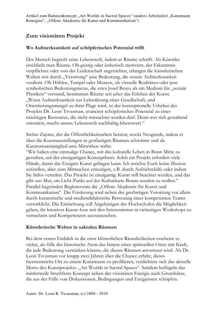 """Artikel zum Rahmenkonzept """"Art Worlds in Sacred Spaces"""" (andere Arbeitstitel """"Kunstraum Remigius"""", """"Offene Akademie für Ku..."""
