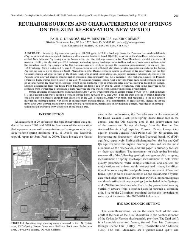 Zuni spring inventory publication