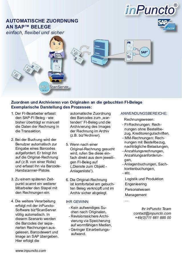 Zuordnung von Rechnungen an SAP-Belege und Archvierung (exemplarische Darstellung)