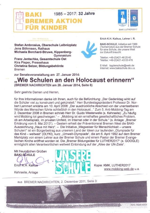1985  -2A17:3?Jahre  m ffi ll@HWU  ryrH*  BAKI LUTHER2OlT  Erich K.H. Kalkus, Lehrer i. R.  Stefan Ambrosius, Oberschule L...