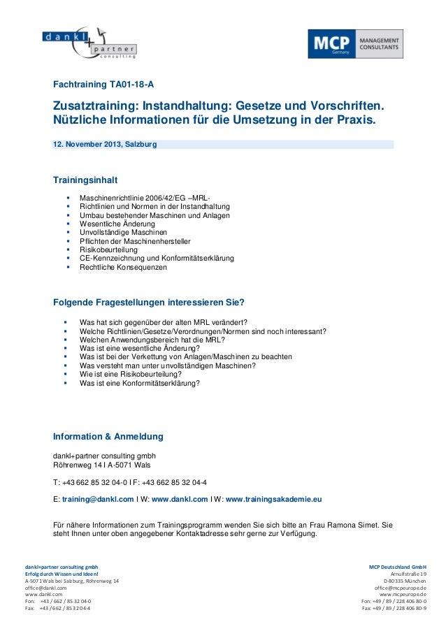 Zusatztraining: Instandhaltung: Gesetze und Vorschriften. Nützliche Informationen für die Umsetzung in der Praxis.