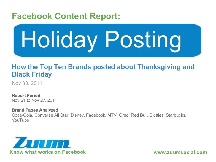 Know what works on Facebook Facebook Content Report: Nov 30, 2011 Holiday Posting How the Top Ten Brands posted about Than...