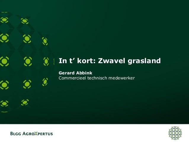 In t' kort: Zwavel grasland Gerard Abbink Commercieel technisch medewerker