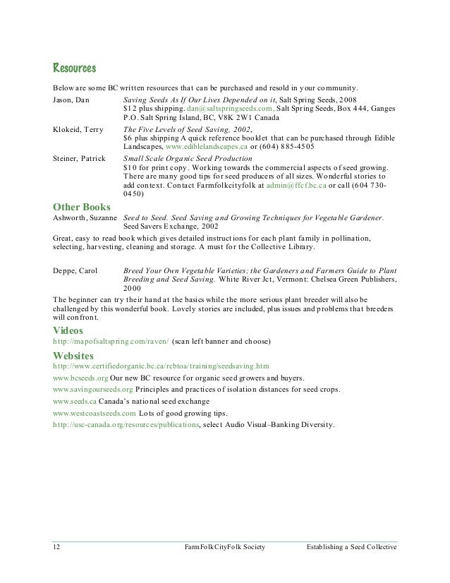 Information Sheet A.5 Seed